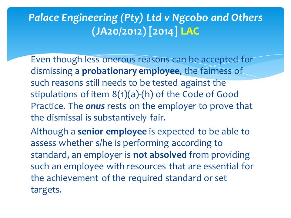 Palace Engineering (Pty) Ltd v Ngcobo and Others (JA20/2012) [2014] LAC